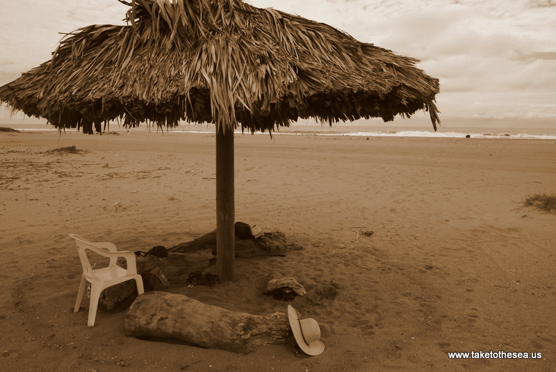 The abandoned little palapa that provided refuge in the hot Mexican sun. Over time someone donated a three legged plastic chair, which we enjoyed thoroughly.